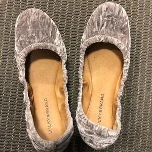 Chic silver grey Lucky Brand velvet ballet flats
